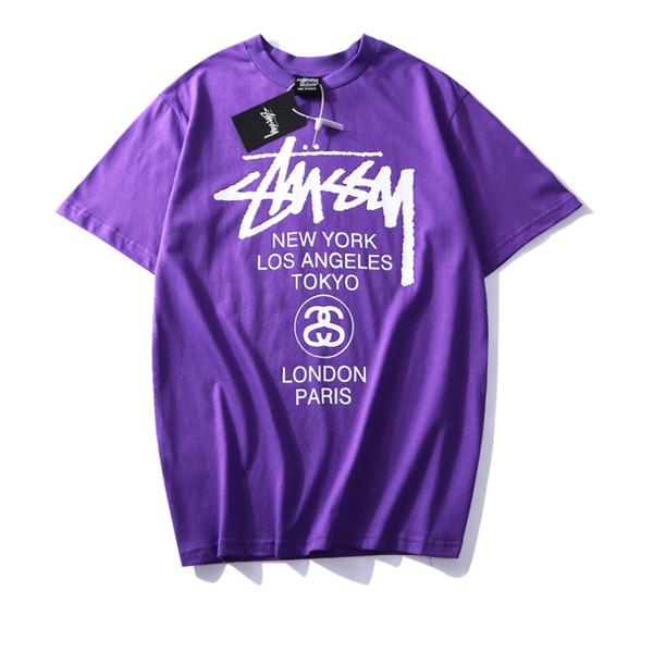 1702, 2019 nueva camiseta de manga corta con estampado de letras, cuello redondo, mangas cortas.
