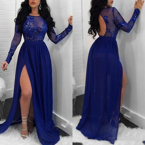 Royal Blue Sheer Long Sleeves Mermaid Prom Dresses 2020 Sequins Appliques Side Split A Line Chiffon Evening Gowns Backless Robes