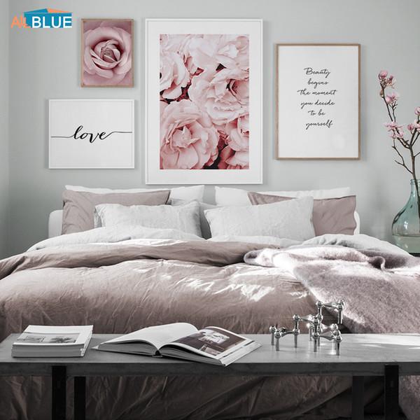 Pink Peony Rose Flower Wall Art Canvas Painting Minimalismo nórdico Carteles e impresiones Cuadros de pared para sala de estar Decoración para el hogar