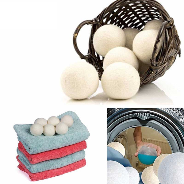 DHL lana bolas del secador de alta calidad reutil Natural Suavizante 2.75inch reduce la estática ayuda a secar la ropa en la lavandería más rápido