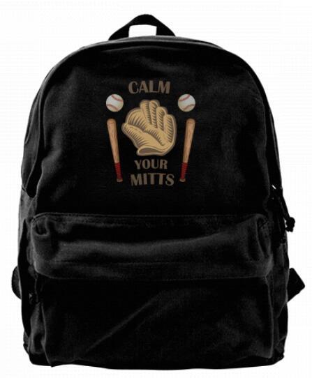 Keep calm and carry on baseball Canvas Shoulder Backpack For Men & Women Teens College Travel Daypack Knapsack Laptop Designer bag
