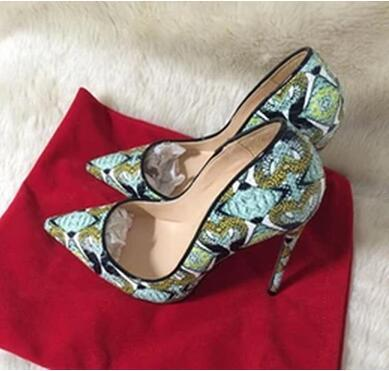2019 new style women red bottom high heels shoes hand-painted pattern pointed toe green serpentine lady wedding shoes +dust bag+box