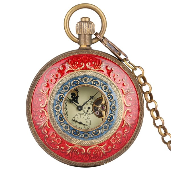 Red Carving Automatic Mechanical Pocket Watch Chain Double Open Face Tourbillon Self Wind Watches Men 2019 New Male Clock Gifts