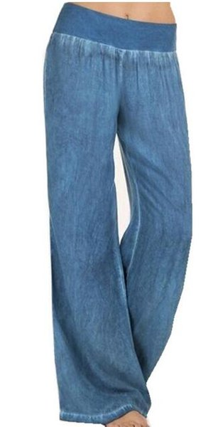 Free shipping 02 new women's wide leg elastic waist denim trousers loose board fashion casual pants