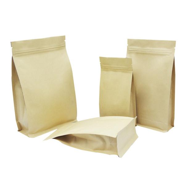 50pcs Kraft Kağıt Gözyaşı Notch Kahve Paketi Fermuar Alüminyum Folyo Gıda Saklama Paketi Kılıfı Sızdırmazlık Sekiz Yanlar içinde Kilit Daimi Bags Zip