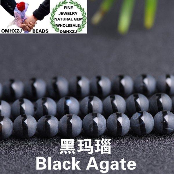 OMHXZJ all'ingrosso ZB49 4 6 8 10 12 millimetri gioielli della collana del braccialetto di DIY che fanno i branelli rotondi dell'agata Accessori pietra naturale fina nero