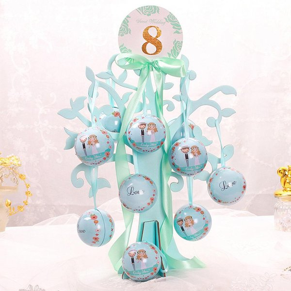 2020 Metal Round Ball Candy Box Case Ribbon Love Tree Wedding Table Decor Ornament Favor Gifts Supplies