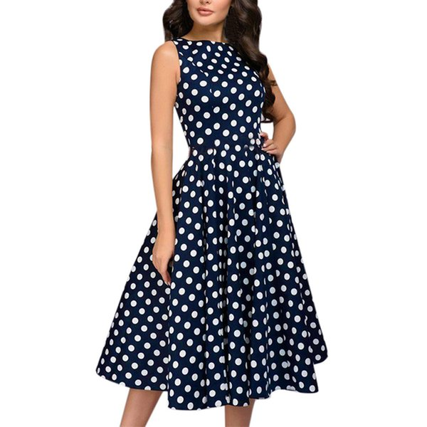 JAYCOSIN Summer Dresses Casual 2019 Ladies' Cute polka-dot Sleeveless Knee-Length O-Neck Elegant Dress Women For Wedding Party
