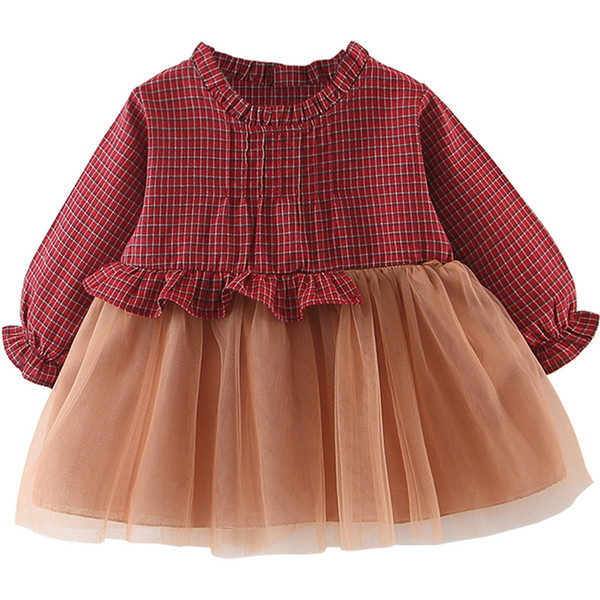 2018 Retail girl dress 0-3Y plaid patchwork A-Line gril dress baby girls clothes kids dresses for girls Children's clothes 99