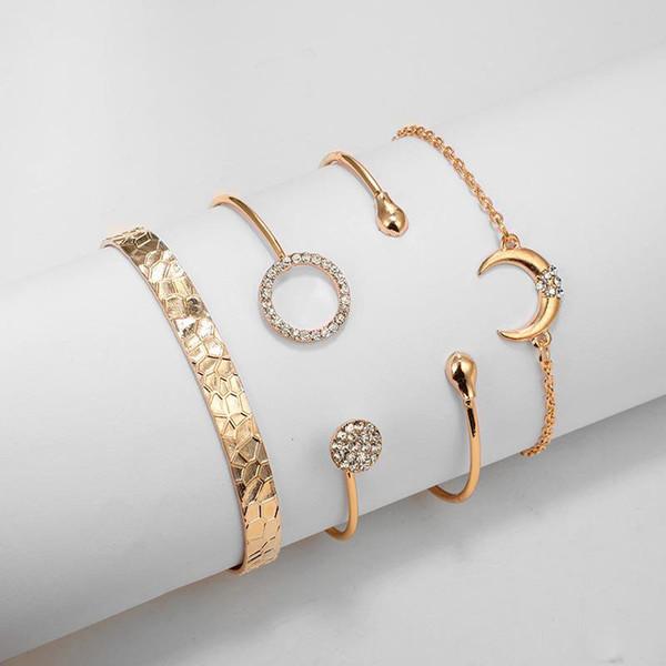4 шт/набор геометрический бриллиант круг несколько Стекируемые браслеты обруча браслет ювелирные изделия регулируемый браслет для женщин Девушки