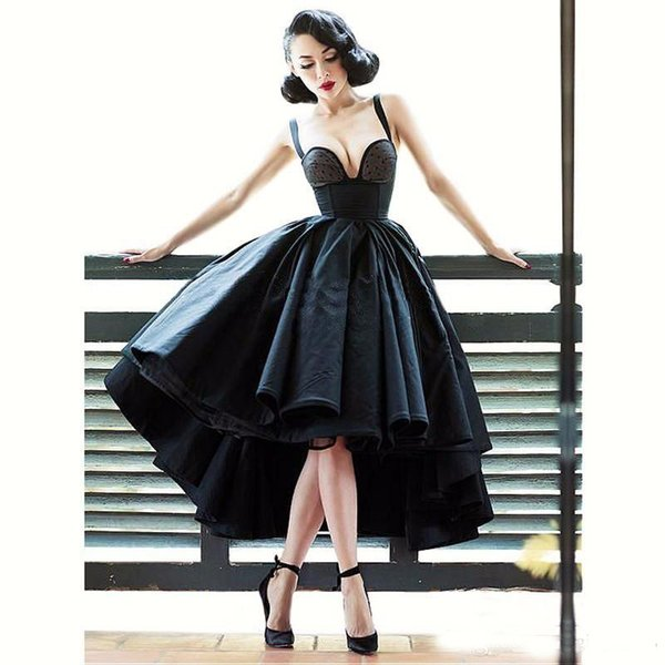 Pequeño vestido negro sexy con hombros descubiertos Vestidos de cóctel Frente delantero Largo Atrás Sin respaldo Último vestido Vestido de fiesta bajo alto