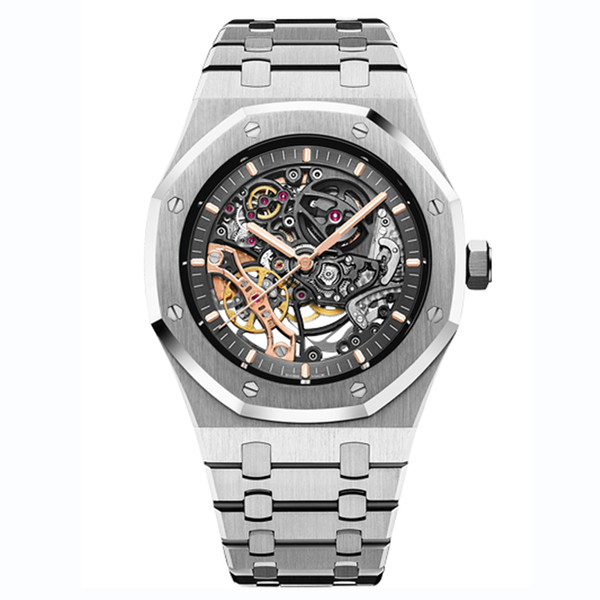 top popular 2021 men watch automatic mechanical hollow watches classic style 42mm full stainless steel 5 ATM waterproof sapphire super luminous U1 watch 2021