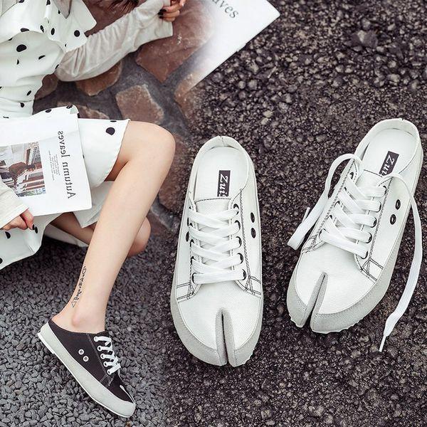 Alpargatas punta casual zapatos de mujer transpirables moda al aire libre señoras zapatos de lona medias inferiores planas blancas