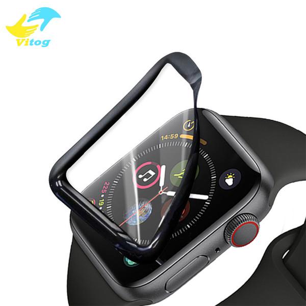 Weiches PET + PMMA 3D gebogener Vollkleber für Apple Watch-Band Serie 1 2 3 4 Hartglas-Displayschutzfolie 44 42 4038 mm