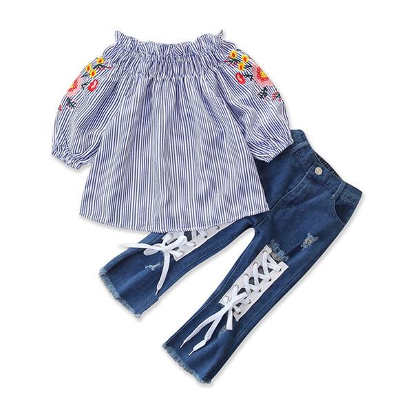 Camiseta de los niños pantalones vaqueros bebés fijados flor Off bordado camisa del hombro de las tapas + con cordones pantalones vaqueros del agujero de la ropa del