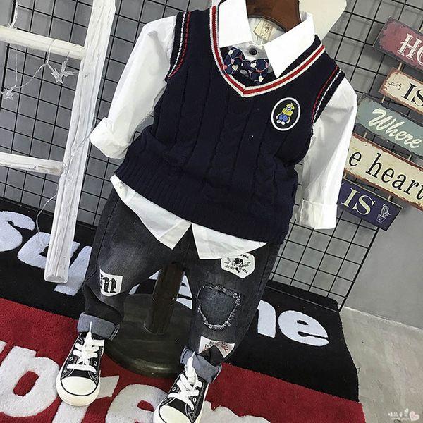 New boys suits kids designer clothes boys sweater waistcoat+long sleeve shirt+Jeans pants 3pcs kids sets retail A7327