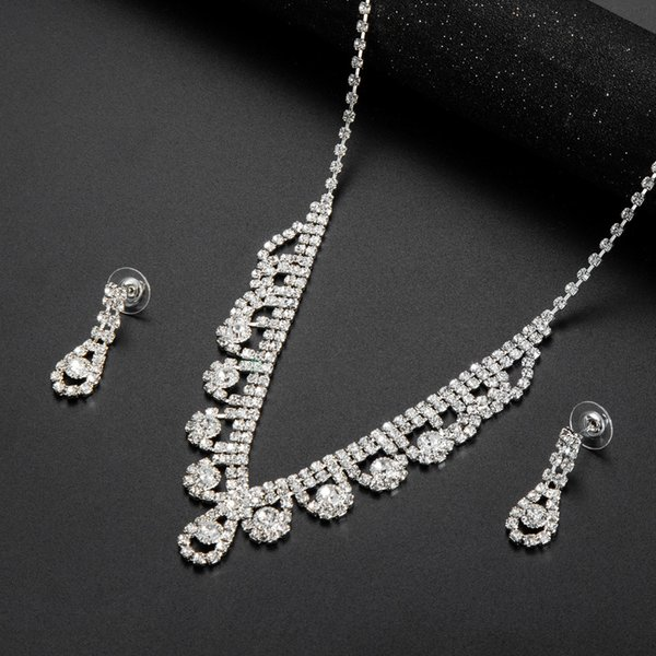 hair accessories for women New Fashion Bridal Necklace Set Joker Personality Temperament Necklace Earrings Two Piece Spot 19