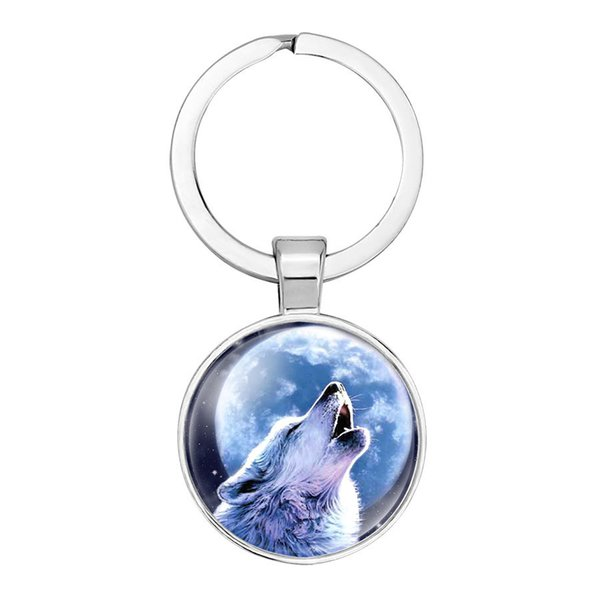 Creative hanging keychain Wolf totem Starry moon tree wolf howling time gemstone glass key ring
