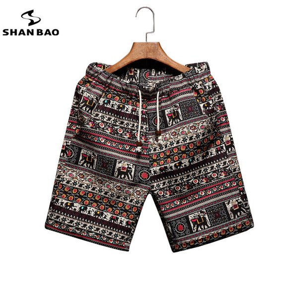 Men's Beach Shorts Personality Printing 2019 Summer Thin Section Breathable Comfort Casual Men's Linen Shorts Large Size M-5xl Y19050702