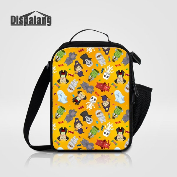 Cartoon Halloween Thermal Insulated Lunch Bag For Women Men Skull Children Small Lunch Box Student Canvas Cooler Bags For School