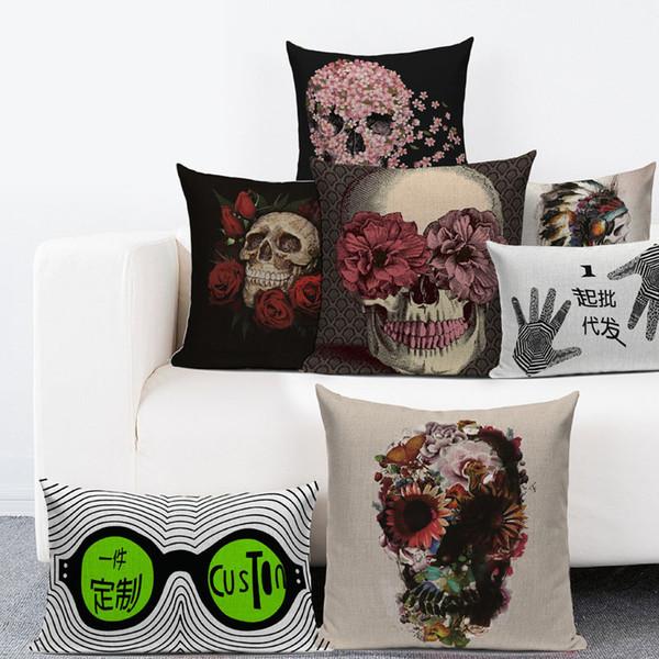 La housse de coussin décorative carrée de toile de coton de jet de coton durable couvre les taies d'oreiller pour la série de crâne de sofa la mode de Halloween