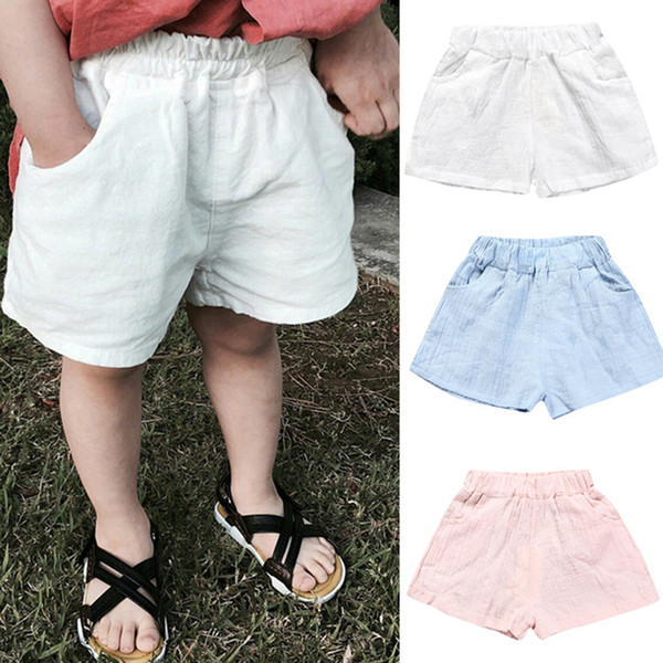 Baby Boys Girls Cotton shorts 2019 summer Solid color Kids Loose Casual Shorts cute Boutique children pants Clothing C6283