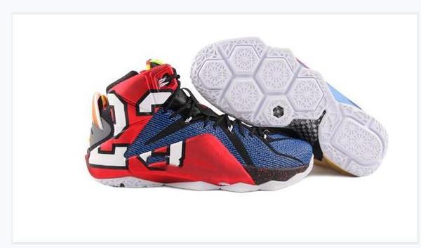 Haute Qualité Athlétique LeBron 12 Elite Chaussures De Basket-ball Hommes Ce Que Le Noir Blanc Métallique Or Multi Sneaker