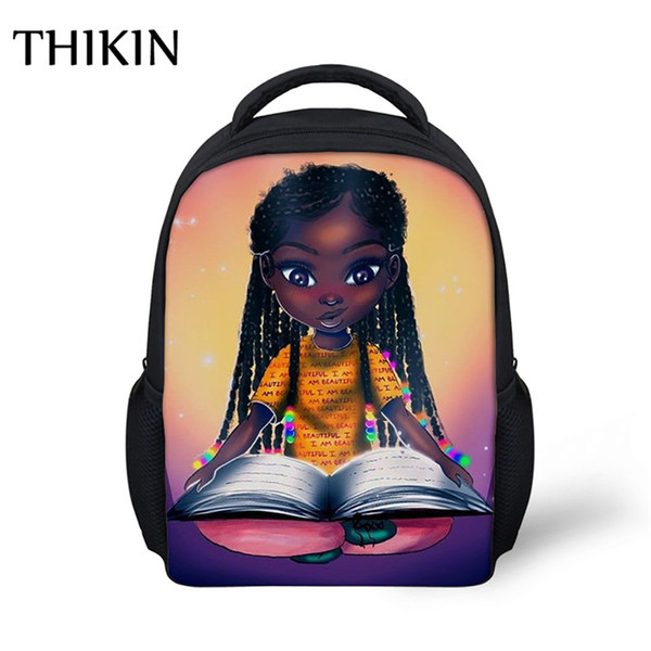 THIKIN Kids School Bag Backpack for Baby Girls Cute African American Black Girl Kindergarten Schoolbag Student Library Bookbags