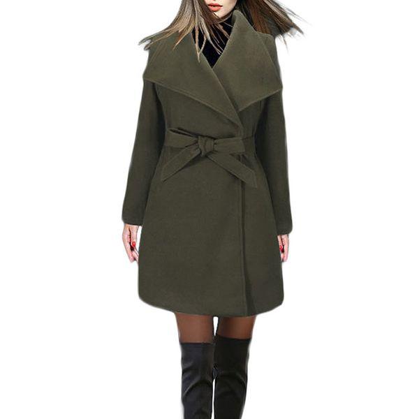 Winter Long Coat Women New Fashion Casual Vintage Belt Solid Jackets Blazers Elegant Office Ladies Coat Casaco Feminino