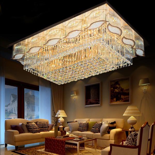 luxurious Hotel Living room Villa Rectangle 3 Brightness Gold K9 Crystal Ceiling light Chandelier Band LED Light bulb Remote control