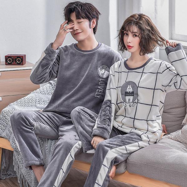BZEL Franela Plaid de dibujos animados de invierno pareja pijamas para hombres y mujeres Ropa de felpa Amantes de los amantes Ropa de dormir Ropa para él y ella
