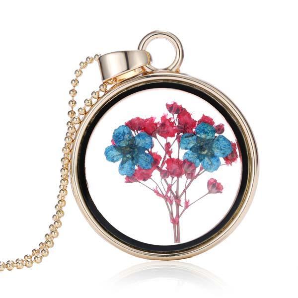 Западный Стиль Для Женщин Ювелирные Изделия Круг Хрустальное Стекло Сухой Цветок Слайд Ожерелье S311