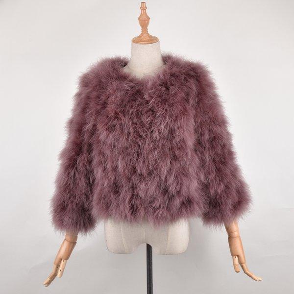 Nueva llegada Mujer de mayor venta de moda Real Abrigo de piel de avestruz Mujeres hechas a mano naturaleza Turquía chaqueta de piel