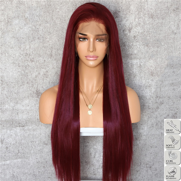 Natural Hairline Dark Burgundy Long Silky Straight Hair Can Heat Resistant Synthetic Lace Front Wigs for Women Free Part Halloween Party Wig