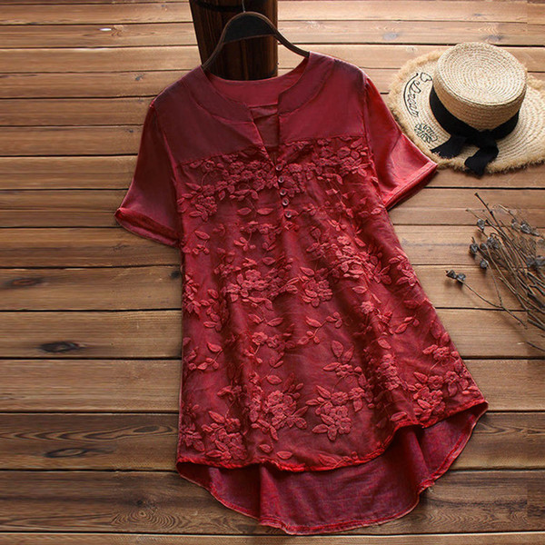 Womens Tops and Blouses Casual Loose Linen Soild Lace Splice tops Short Sleeve tunic Shirt Blouse fashion woman blouses 2019
