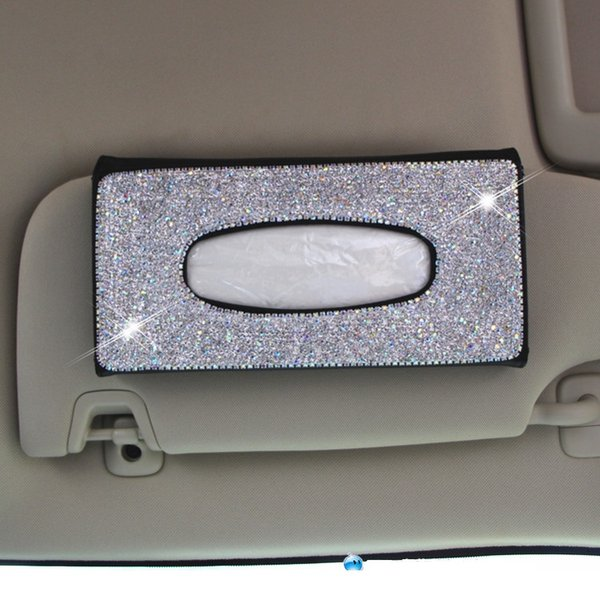 Bling Lady Crystal Diamond Rhinestone Car Auto Tissue Box Paper Towel Case Cover