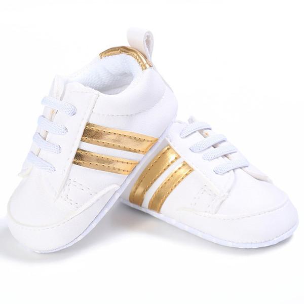 2019 Pu En Cuir Chaussures Sports Baskets Nouveau-Né Bébé Garçons Filles Rayures Motif Chaussures Infant Toddler Doux Anti-slip Chaussures