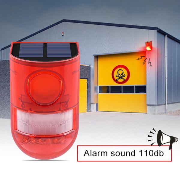 Güneş Alarm Lambası 110db Uyarı Ses 6led Kırmızı Işık IP65 Su Geçirmez Hareket Sensörü Depo Gizli Yeri Duvar Için Dikkat Işıkları
