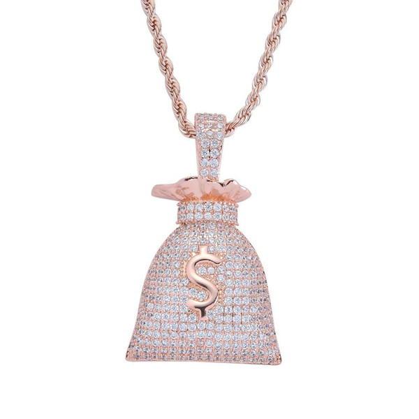 14K Gold Plated Dollar Sign Money Bags Pendant Necklace Micro Paved Zircon Bling Hip Hop Jewelry Gift