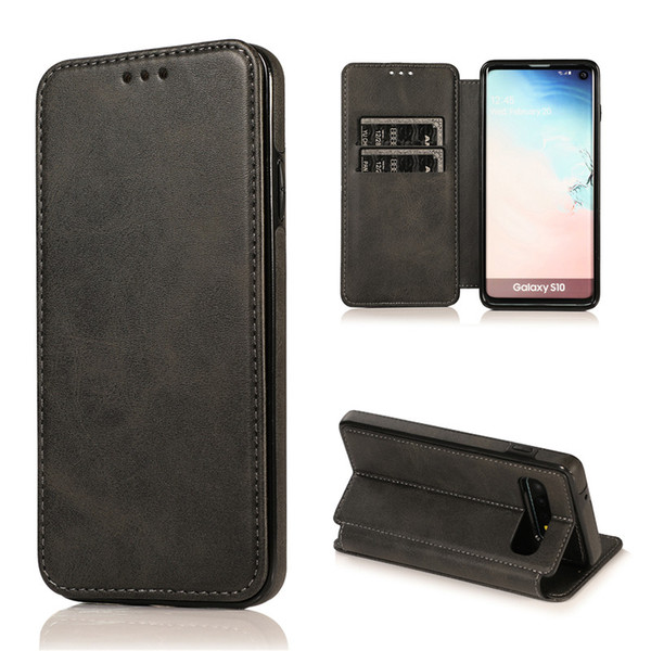 For S10 S10E S10Plus Huwei P30 Pro Lite Magnetic Wallet Case Luxury PU Leather Cell Phone Holder Soft TPU Cover Credit Card Slot