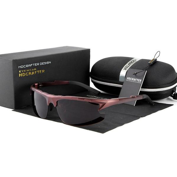 HDCRAFTER Latest design Polarized HD Sunglasses Fashion Al Mg alloy frame Anti-Glare driving Riding ultraviolet-proof men's glasses,Gift box