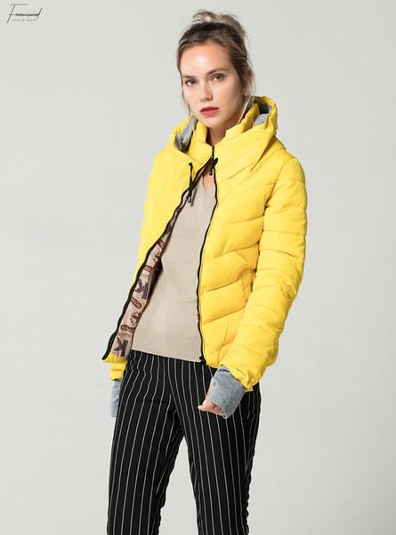 Veste jaune Automne Hiver pied de col en coton rembourré Femme Basic survêtement manteau Applique Chaqueta Mujer Ficusrong
