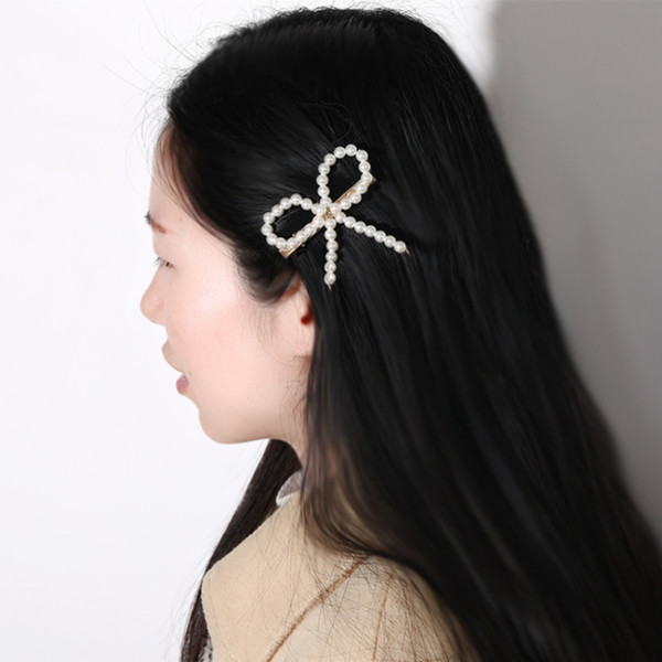 Cute Bowknot Hair Clip For Girls Imitation Pearl Barrettes Geometric Simple Gold Plated Alloy Hairpins Fashion Jewelry Accessories Wholesale
