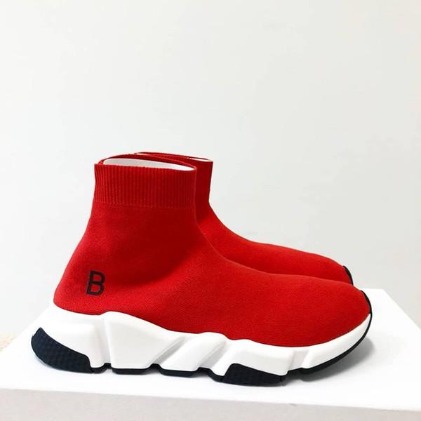 Modedesigner Schuhe Mann Lässig Frau Sneaker Geschwindigkeit Trainer Stretch-Knit Gelb Rot Slip On High Top Socke Schuhe Drop Ship Größe 35-46