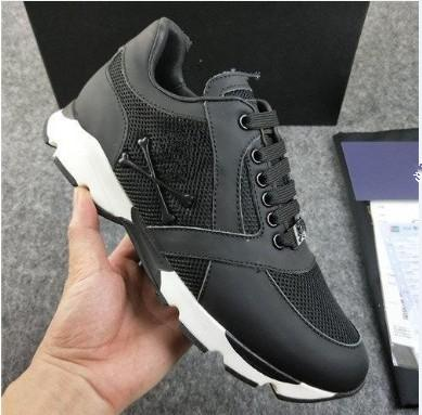 Men Leather Sneakers Punk Style Runner, PP Casual Shoes Decorated with Iconic Metal Skull for Free time Size 38-45 mnb0008