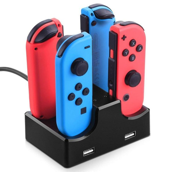 LED Charging Dock Station Charger Cradle For Nintend Switch 4 Joy Con Controllers 4 In 1 Charging Stand For Nintend Switch NS