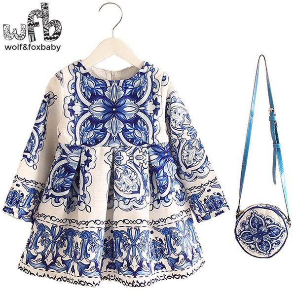 Retail 2-8years Dress+bag/set New Cute Kids Baby Girl Summer Spring Fall Long-sleeve Perfume Princess Flower China Blue MX190724