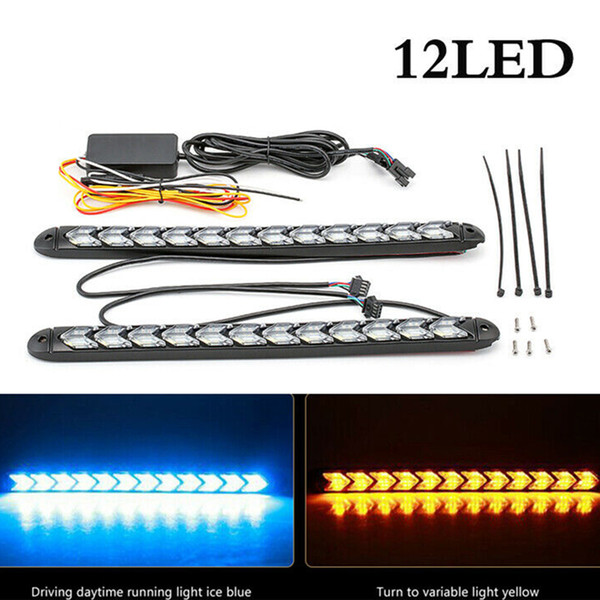 2x 9-LED Sequential Flasher Turn Signal Light Amber Red Switchback Arrow Strips