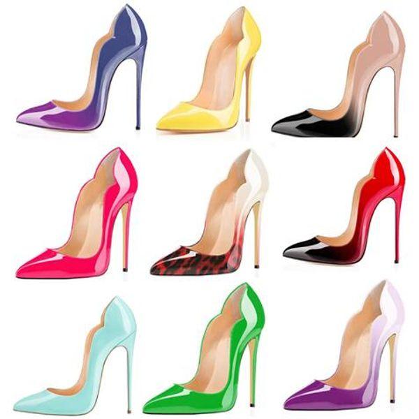 Fashion patent leather women stiletto pumps gradient color super high heels party wedding shoes large size 35-43