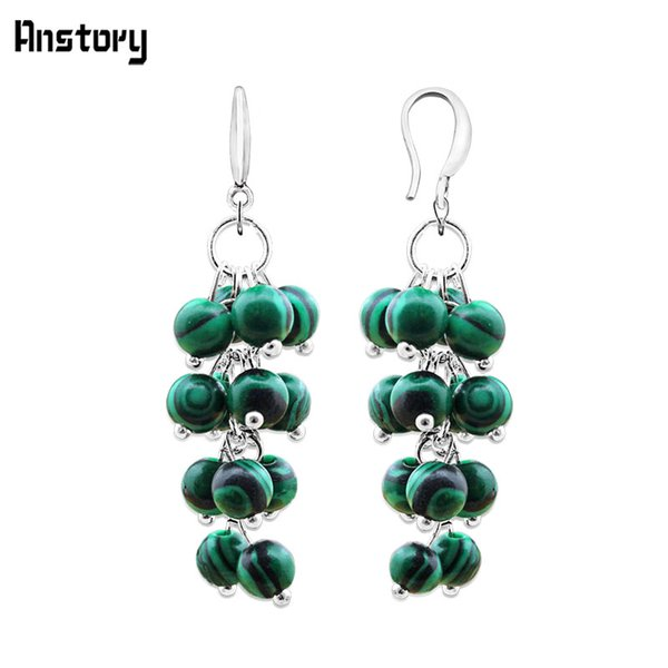 jewelry mall Cluster Malachite Dangle Earrings For Women Personality Fashion Jewelry Antique Silver Plated Party Gift TE253